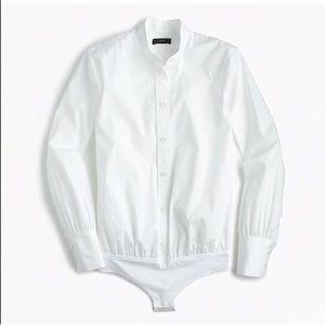 NEW J. CREW Stretch Bodysuit White Dress Shirt Top